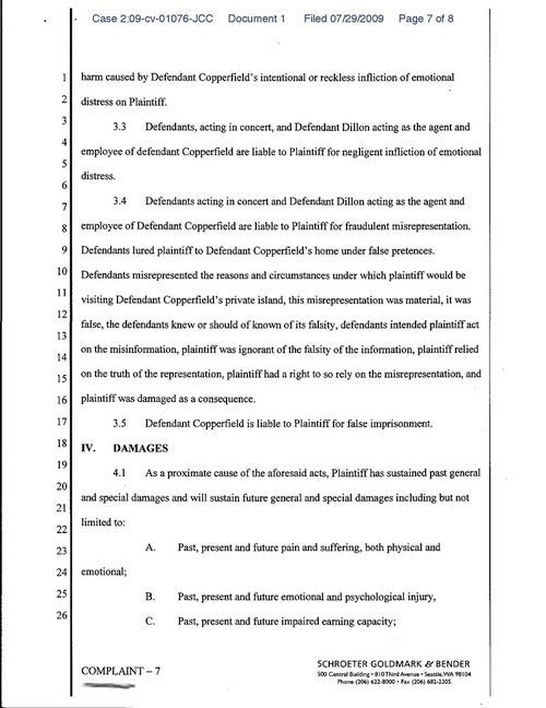 Civil Complaint Against David Copperfield