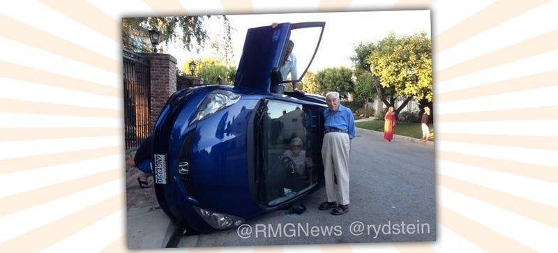 Adorable Old Couple Roll Honda, Take Best Picture In Car Wreck History