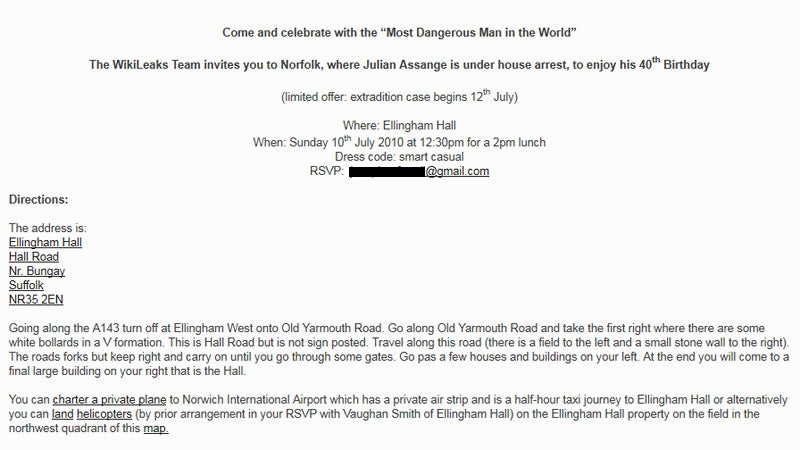 Here's the Invite to Julian Assange's 40th Birthday Blowout
