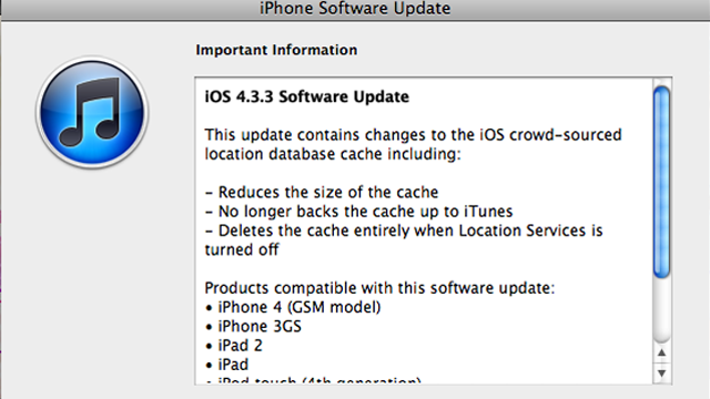 iOS 4.3.3 Update Arrives with Location-Tracking Fix