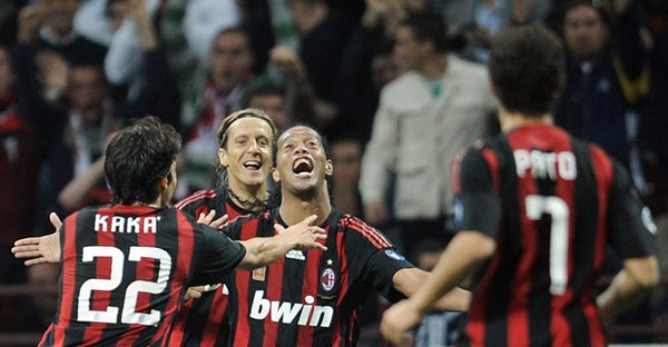 Ronaldinho Starts and Scores For Milan