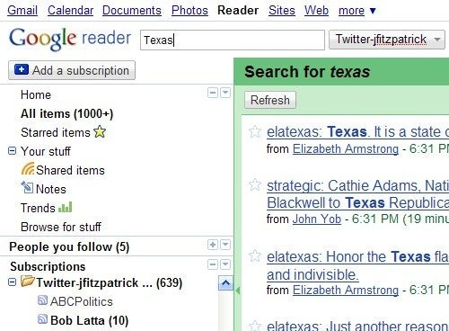 Backup and Search Your Friends' Tweets with Google Reader