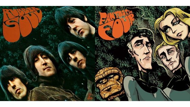 The Fantastic Four become the Beatles when superheroes invade classic album covers