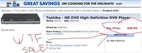 Best Buy Matching $99 Toshiba HD DVD Player at Walmart