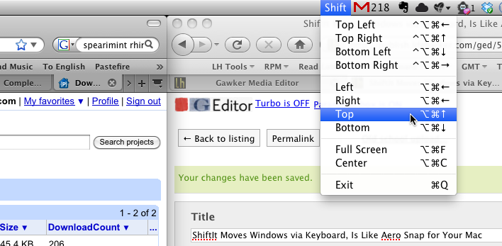 ShiftIt Moves Windows via Keyboard, Is Like Aero Snap for Your Mac