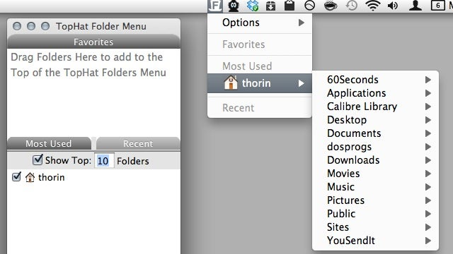 TopHat Folder Menu Gives You Quick Access to Your Most Used Folders in the Menu Bar