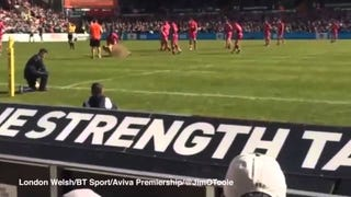 Naked Idiot On The Field Absolutely Flattened By Rugby Player