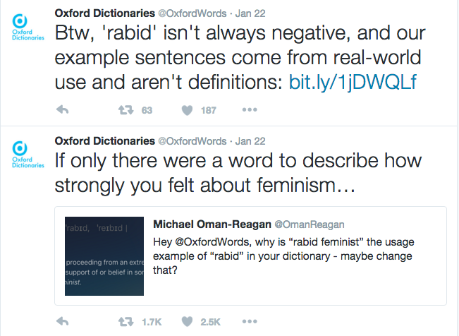 Oxford Dictionary Realizes Illustrating 'Rabid' With 'Masculist' Isn't the Smartest Move