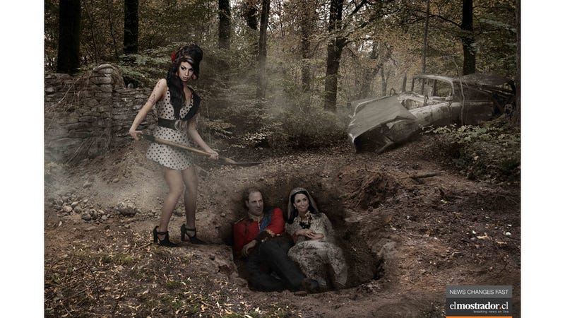 Who Dreamed Up This Macabre Ad in which Amy Winehouse Is a Ditch-Digger, Burying Will and Kate?