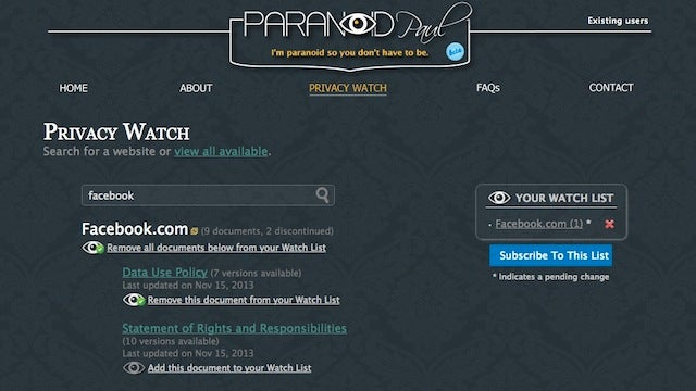 Paranoid Paul Monitors Terms of Service and Alerts You of Changes