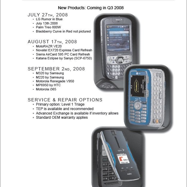 Leaked Sprint Roadmap Shows Palm Treo 800W, BlackBerry Curve And Possibly the HTC Touch Pro