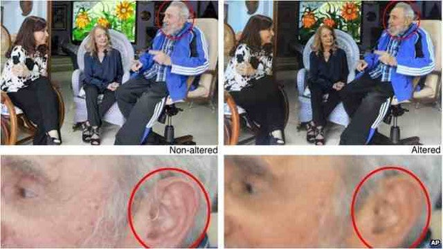 The AP Deleted Fidel Castro Images Photoshopped to Remove a Hearing Aid