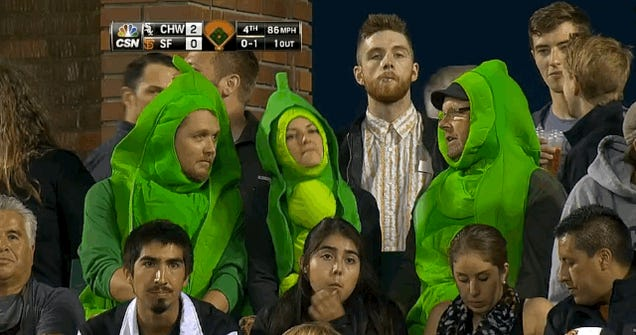 Just A Few Baseball Fans Dressed As Peapods, Chatting