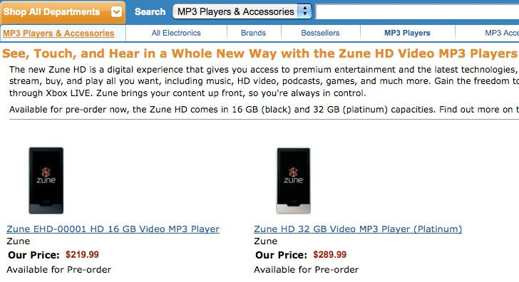 Amazon Confirms Leaked Zune HD Pricing