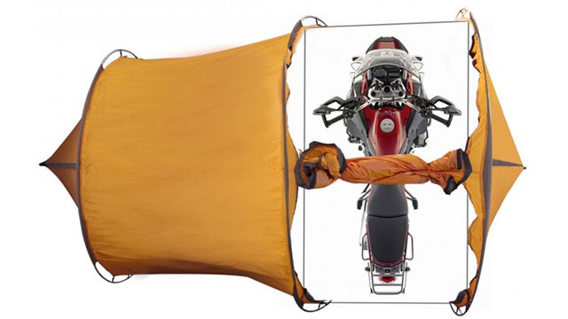 A Tent With a Garage For Your Motorbike