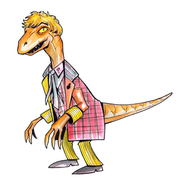 The eleven Doctors, drawn as dinosaurs