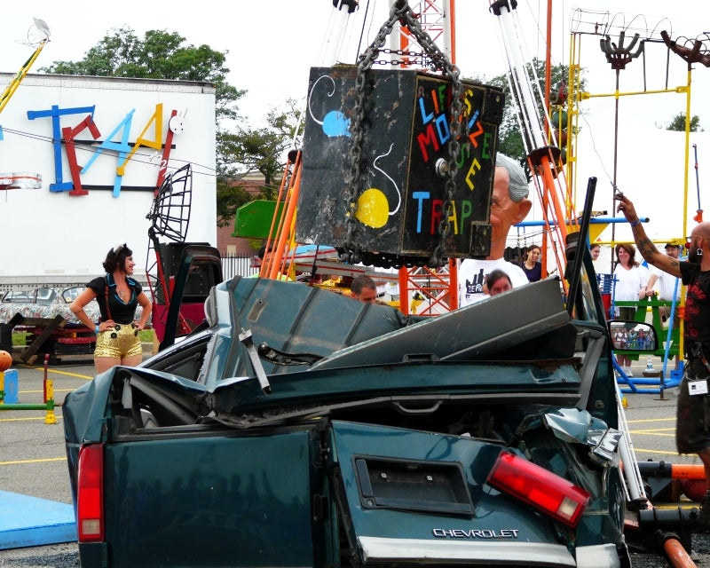 Life-Size Rube Goldberg Device Smashes Cars With Two-Ton Safe