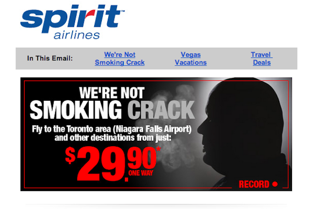 "Spirit Airlines Says It's ""Not Smoking Crack"" with Cheap Toronto Deal"