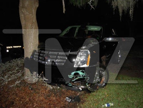 Tiger Woods Cadillac Escalade Crash Scene Photos