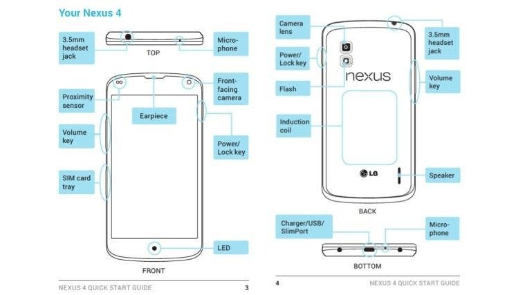 Leaked Nexus 4 Manual Reveals Wireless Charging