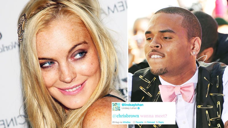 Lindsay Lohan and Chris Brown Flirt on Twitter, 'Wanna Meet'