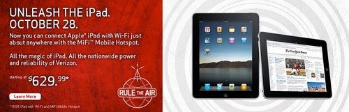 Verizon Wireless iPad Now On Sale