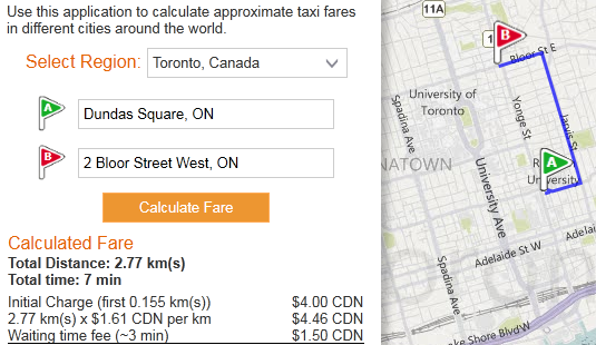 Bing Maps Finds Your Taxi Route and Estimates the Fare