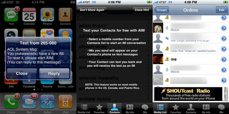 iPhone AIM App Gets Background Notifications, Free SMS Messages and... Ads