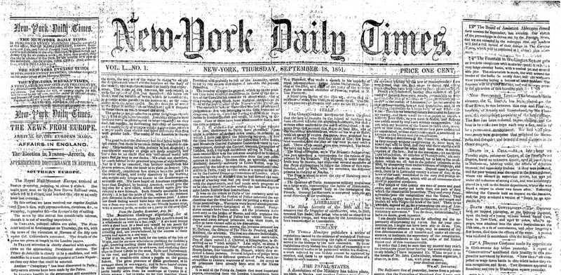 The Best Excerpts from the New York Times' First Issue