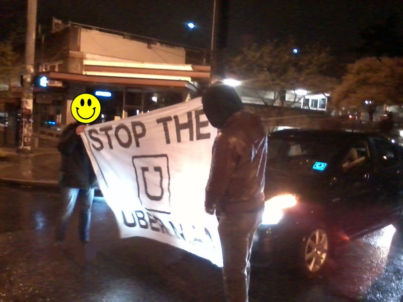 Anarchist Protestors Blocked Uber Cars in the Streets of Seattle