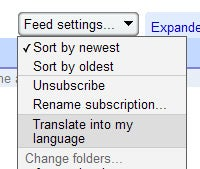 Google Reader Now Translating Feeds Automatically