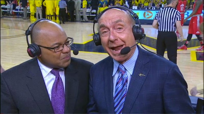 Dick Vitale Apparently Walked Into A Glass Door Before Last Night's Broadcast