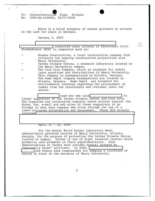 FBI Memo Identifying the Green Party as a Terrorist Group