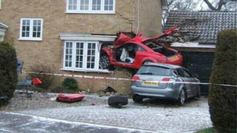 Crash Leaves Audi TT Embedded In House