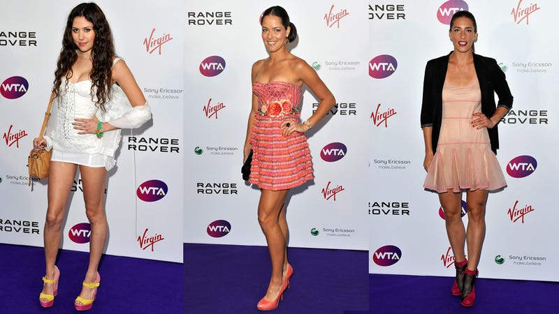 Female Athletes Try To Dress Up For Pre-Wimbledon Party