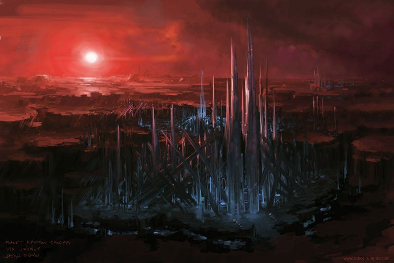 A Kryptonian City Refracts The Blood Red Sunlight