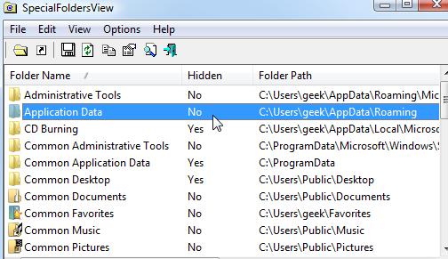 SpecialFoldersView Displays Hidden Windows Folder Locations