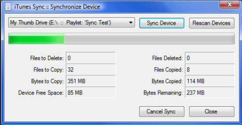 iTunes Sync transfers your iTunes library to other MP3 players