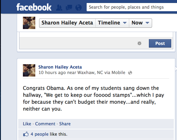 8th Grade Math Teacher Says Obama's Win Means She'll Have to Keep Paying for Her Students' Food Stamps