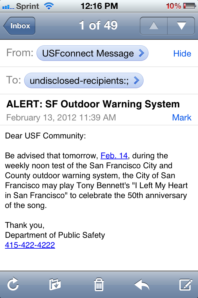 Watch Live As San Francisco's Bizarre Emergency Warning System Plays Tony Bennett (Updated)