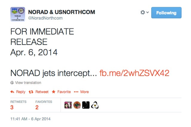 Not the kind of tweets you want to see from NORAD...