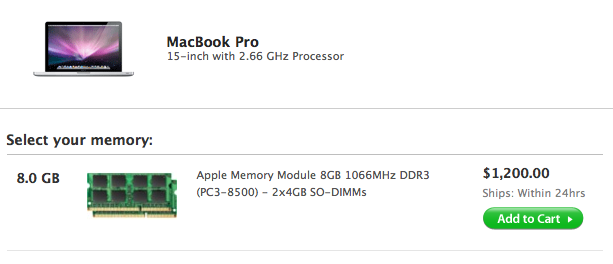 Apple Now Offers $1200 8GB RAM Upgrade on New MacBook Pros, Backwards Compatibility Unclear