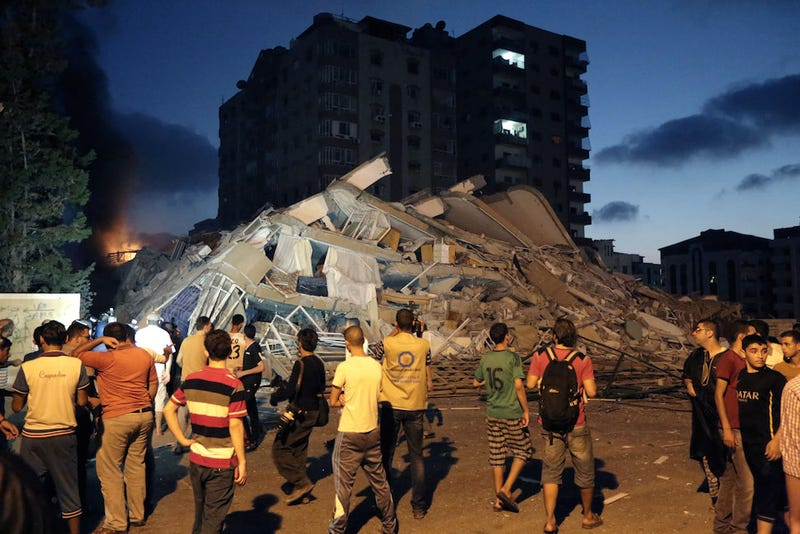 Israeli Airstrikes in Gaza Level Seven-Story Office Building