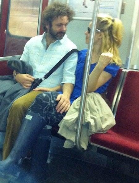 Rachel McAdams & Michael Sheen Canoodle On Public Transit