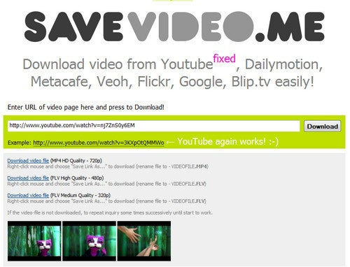 Savevideo.me Downloads Video From YouTube, Dailymotion, Metacafe, and More