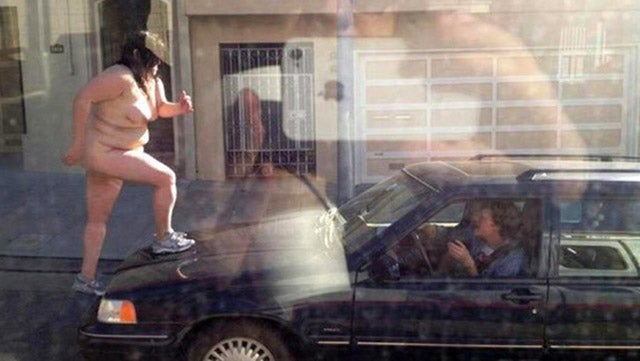 Here's a Naked Fat Woman Jumping on a Car (NSFW)