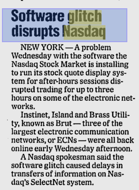 Nasdaq Shuts Down Trading Following Technical Problem (Updated)