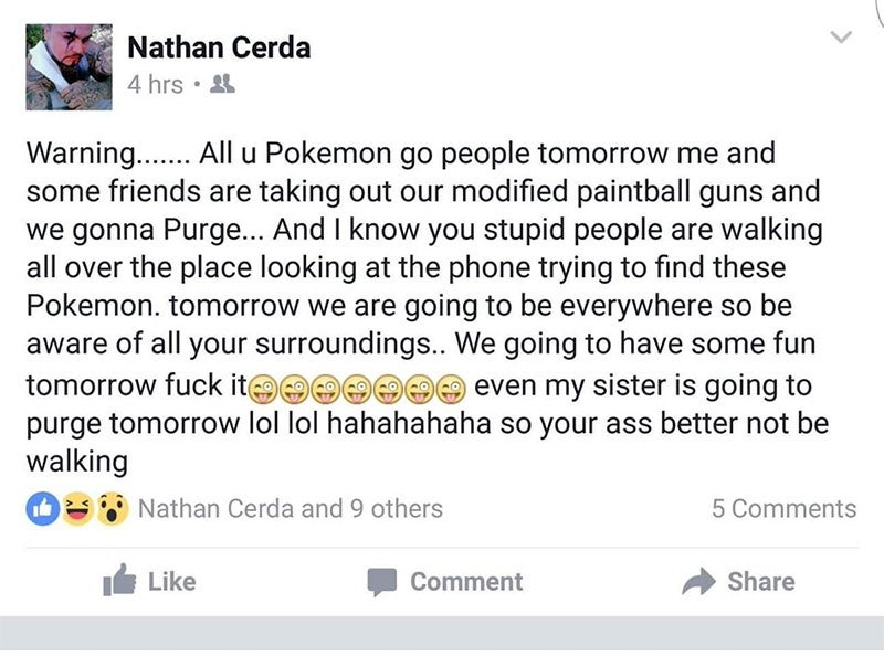 "Man Threatens Pokémon Go Players, Arrested For ""Terroristic Threat"""