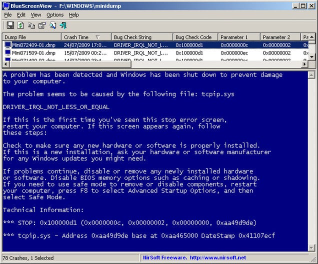 BlueScreenView Helps Troubleshoot the Blue Screen of Death