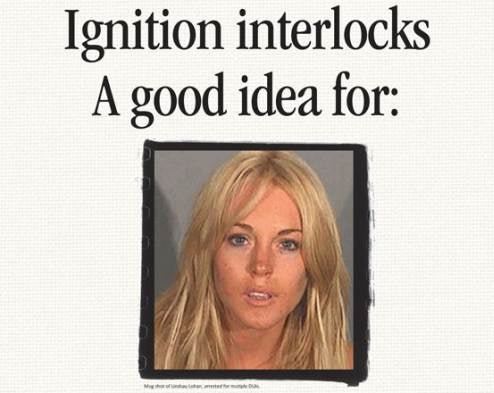 Lindsay Lohan Poster Girl For Breathalyzer Ignition Interlocks